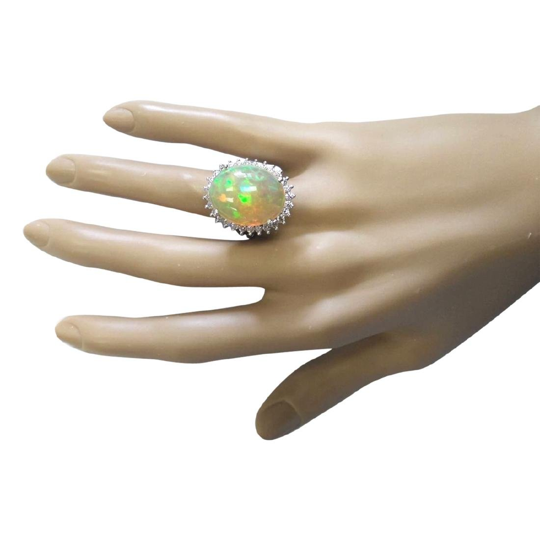 13.48 CTW Natural Opal And Diamond Ring In 18K White - 4