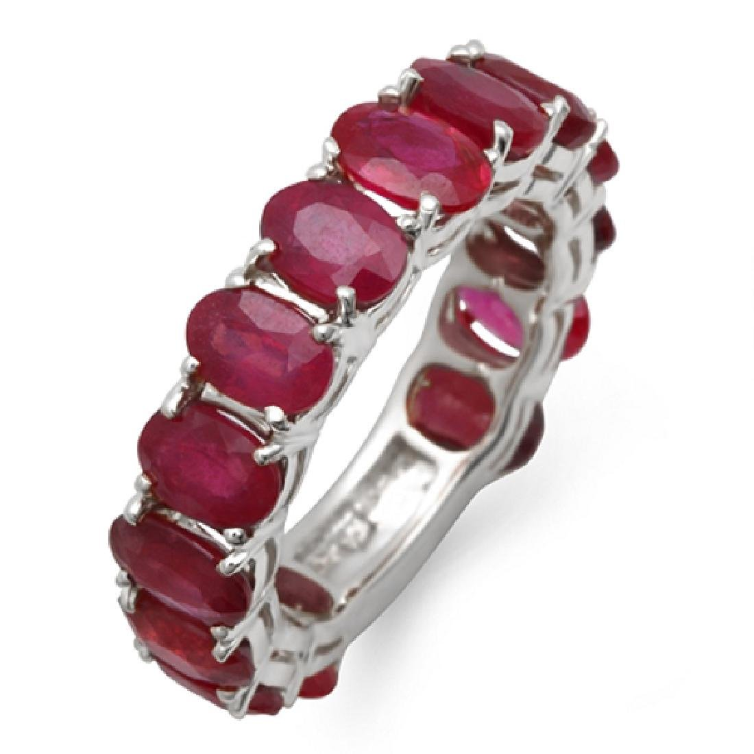 9.00 Carat Natural Ruby 18K Solid White Gold  Ring