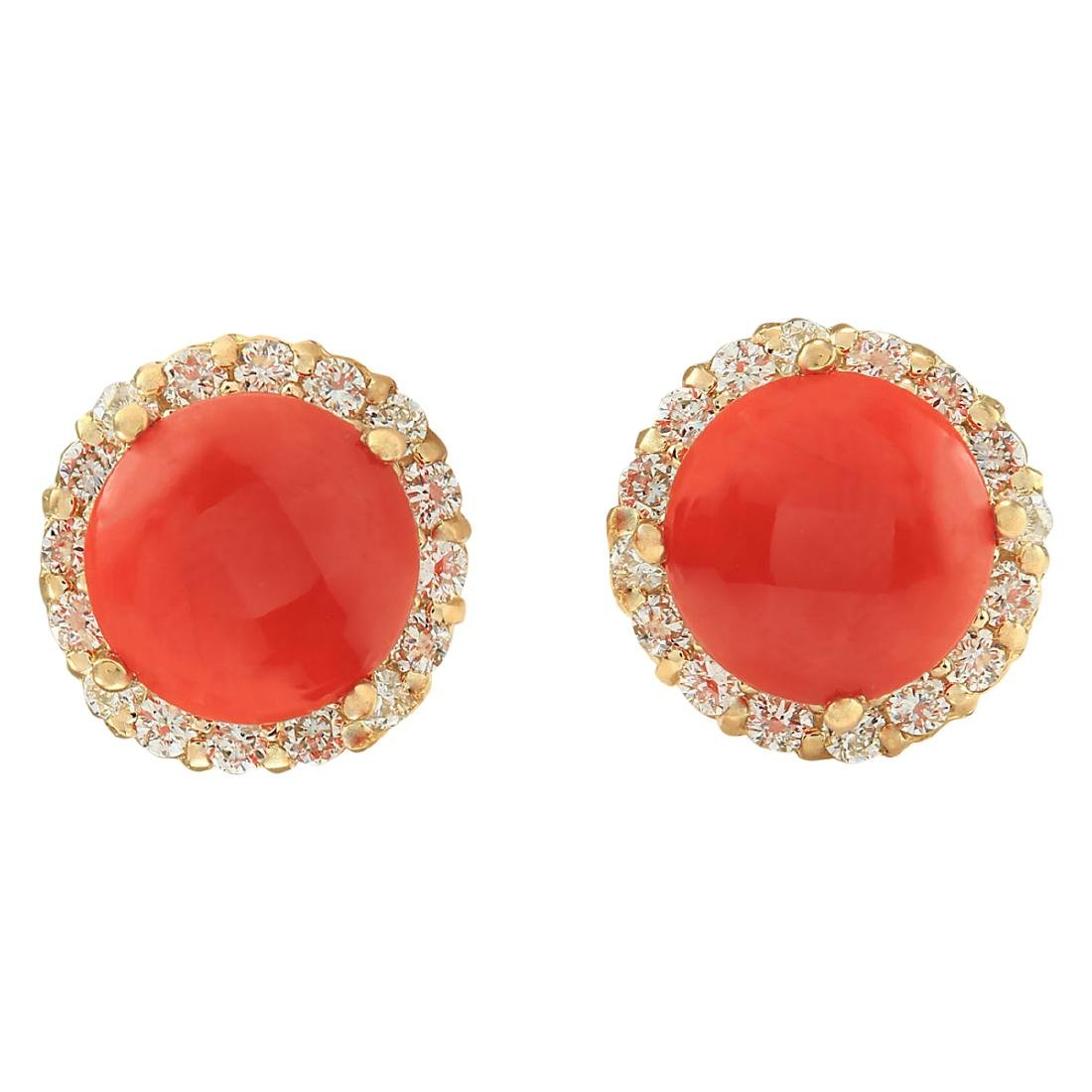 3.65 CTW Natural Coral And Diamond Earrings 18K Solid