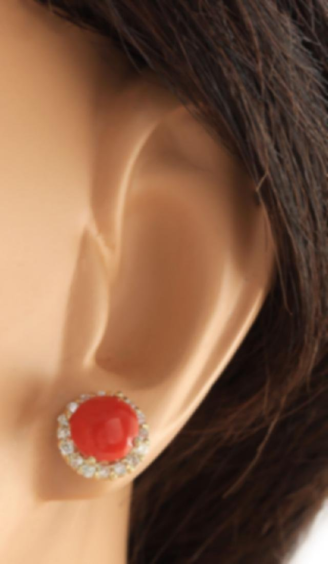 3.65 CTW Natural Coral And Diamond Earrings 18K Solid - 2