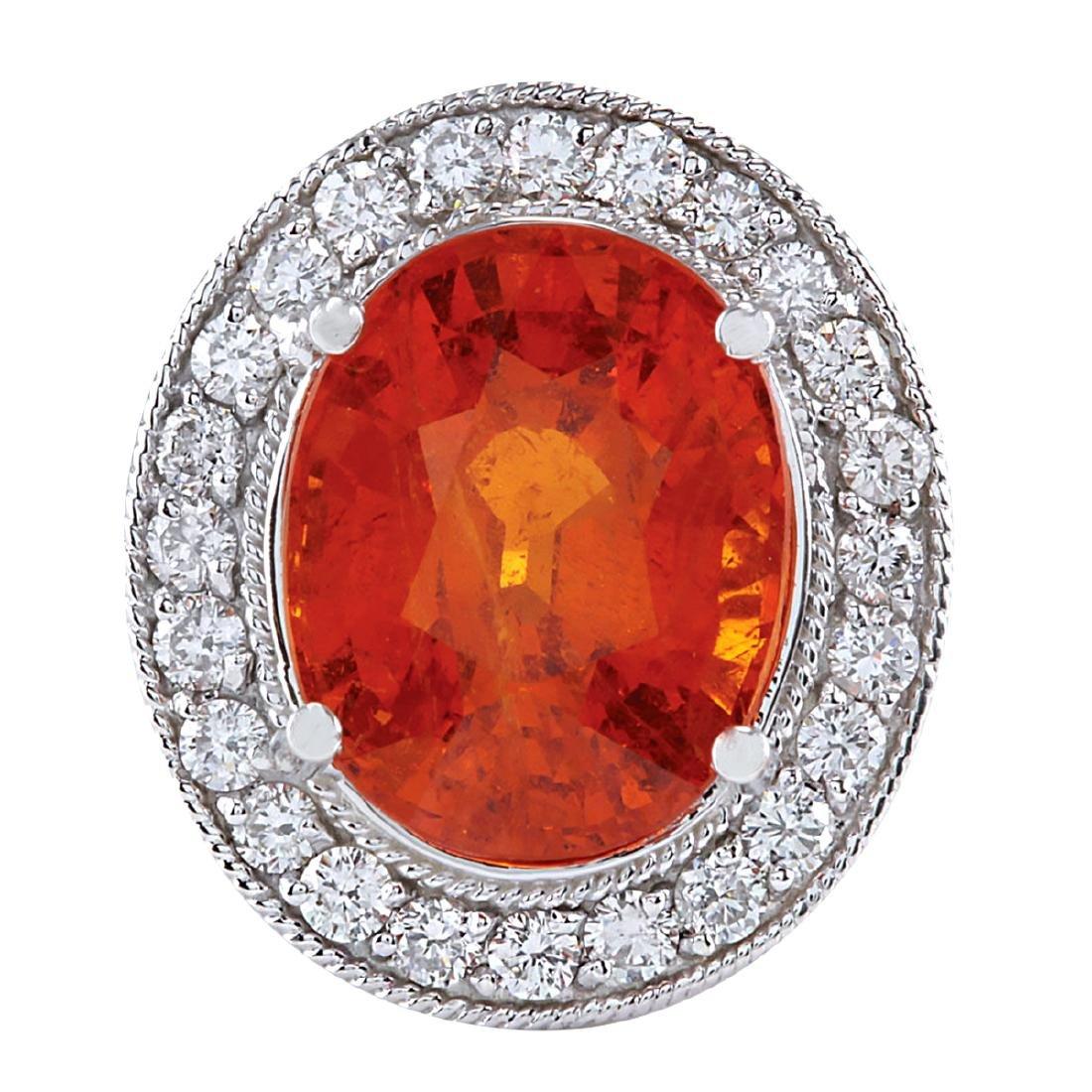 12.31CTW Natural Mandarin Garnet And Diamond Ring 18K
