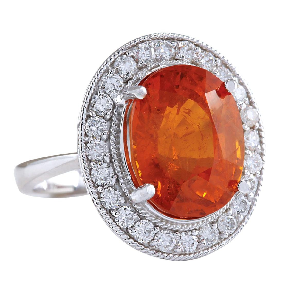 12.31CTW Natural Mandarin Garnet And Diamond Ring 18K - 2