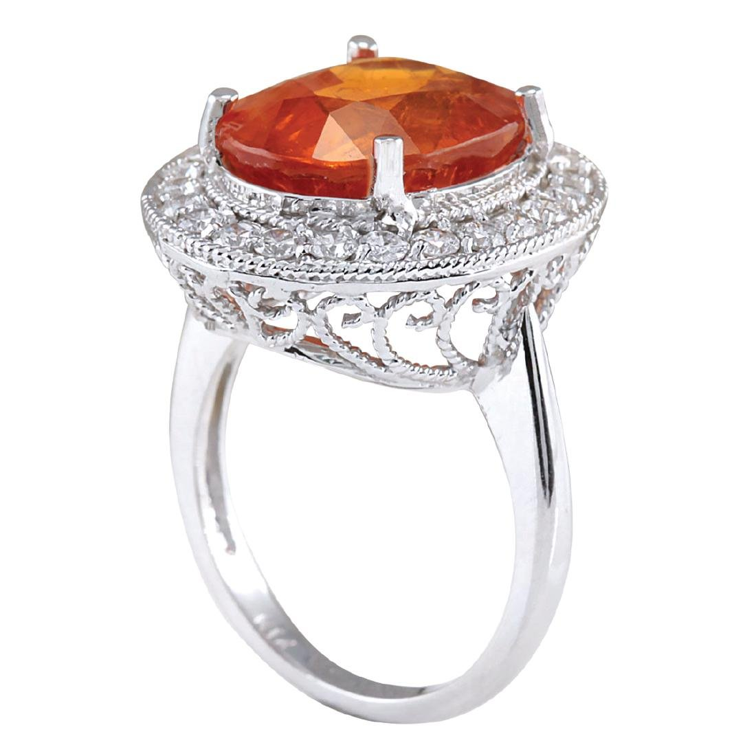 12.31CTW Natural Mandarin Garnet And Diamond Ring 18K - 3