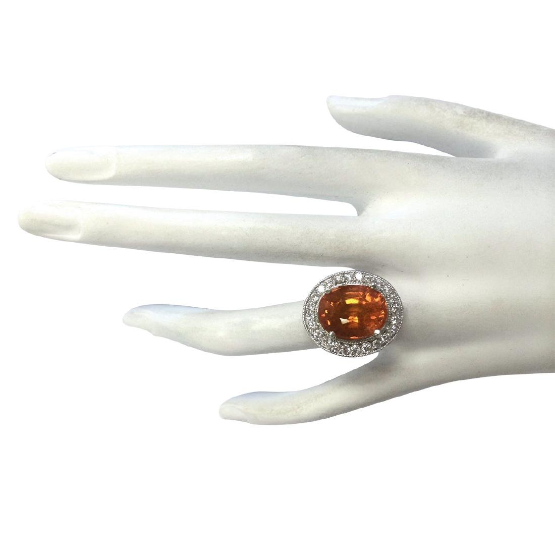 12.31CTW Natural Mandarin Garnet And Diamond Ring 18K - 4