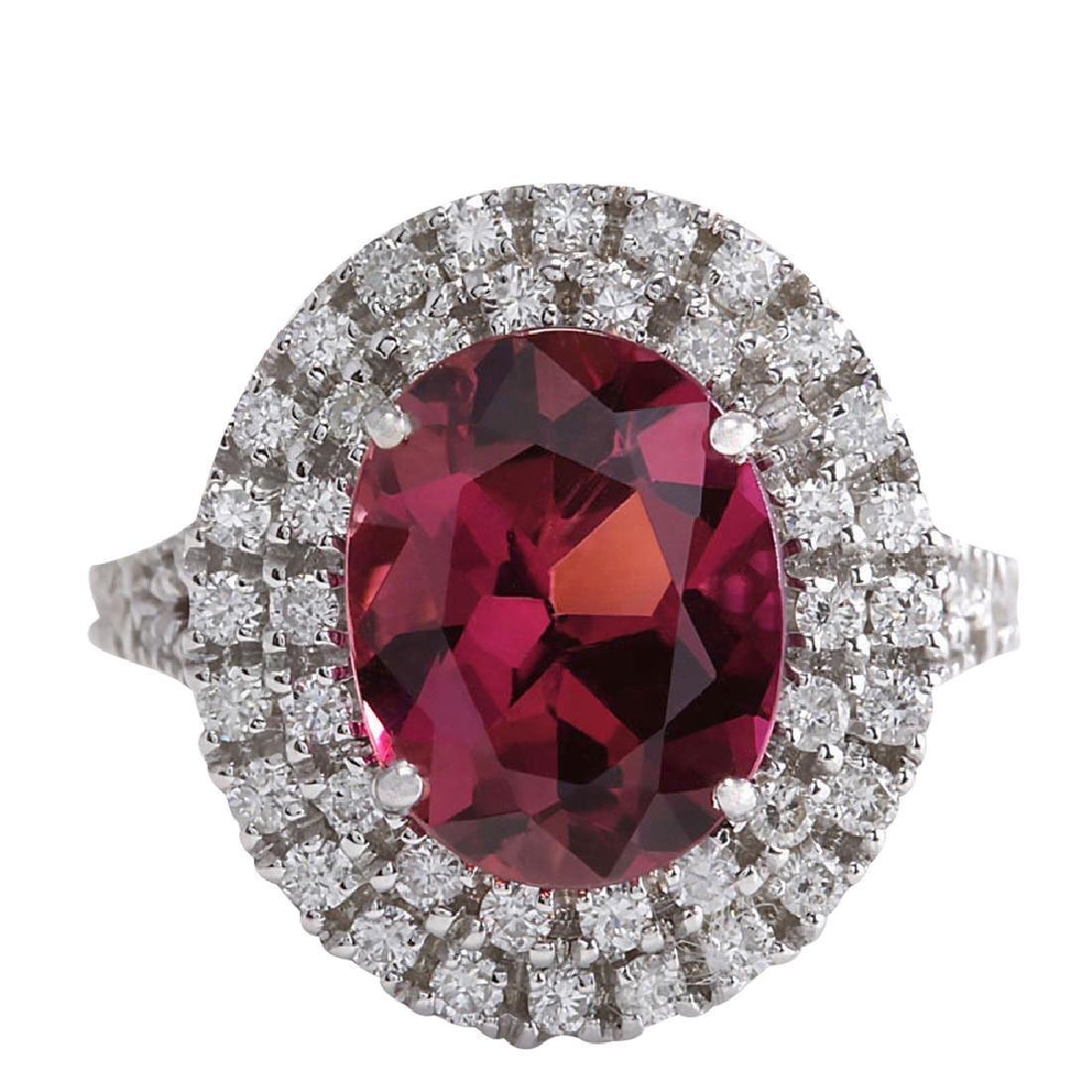 4.47CTW Natural Pink Tourmaline And Diamond Ring 18K