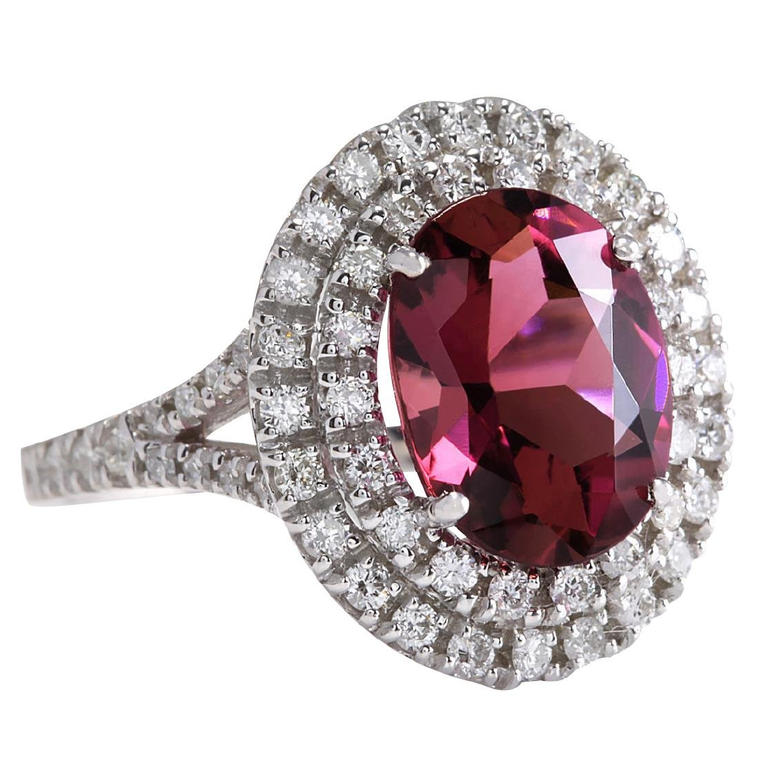 4.47CTW Natural Pink Tourmaline And Diamond Ring 18K - 2