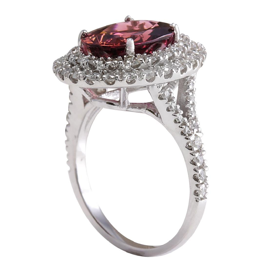 4.47CTW Natural Pink Tourmaline And Diamond Ring 18K - 3