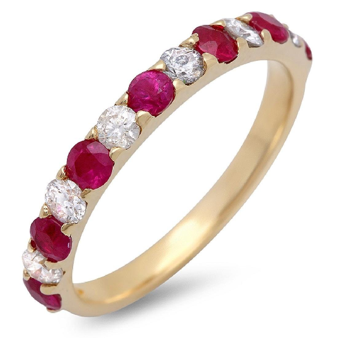0.85Carat Natural Ruby 18K Solid Yellow Gold Diamond