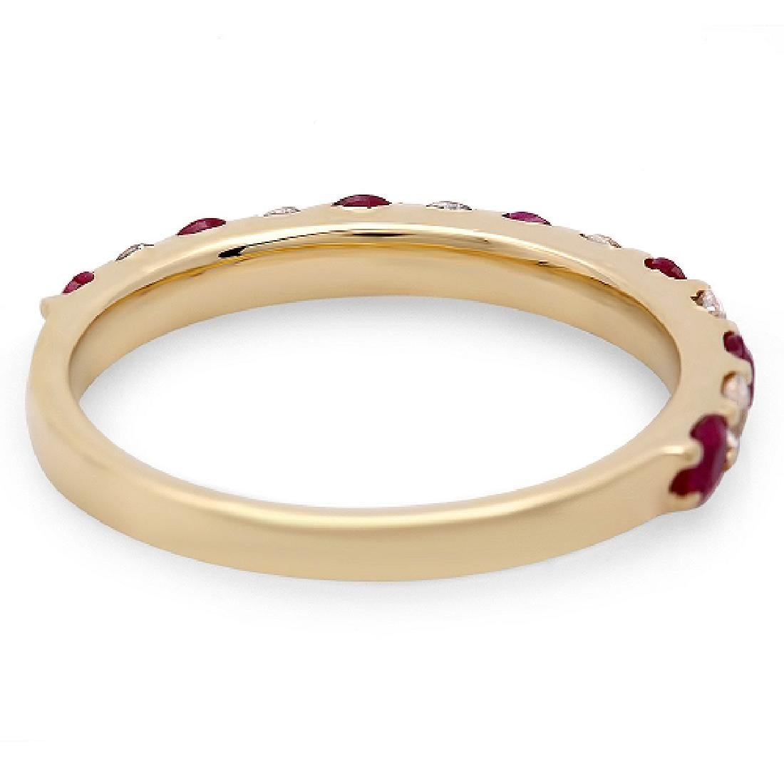 0.85Carat Natural Ruby 18K Solid Yellow Gold Diamond - 2