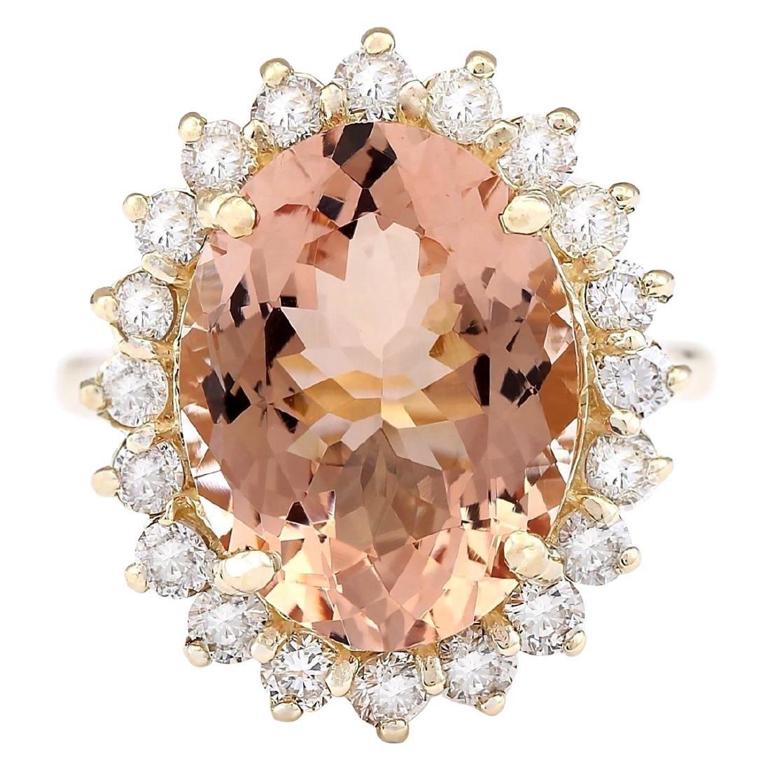 8.66 CTW Natural Morganite And Diamond Ring In 18K