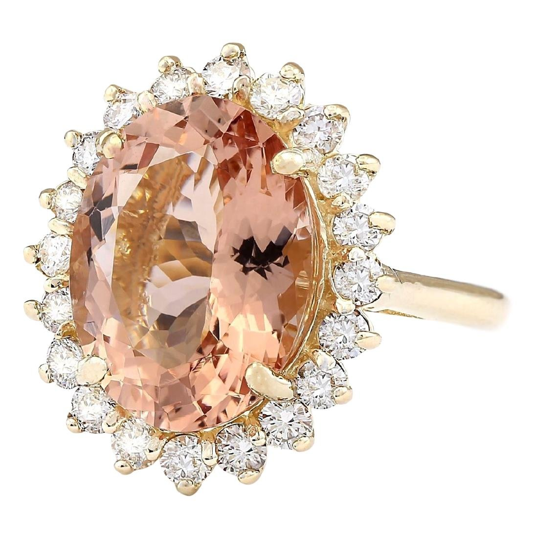 8.66 CTW Natural Morganite And Diamond Ring In 18K - 2