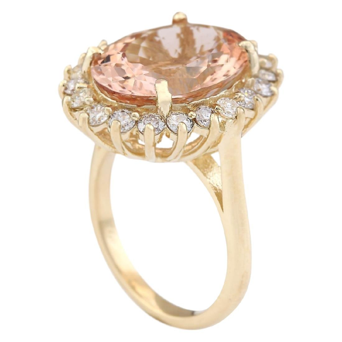 8.66 CTW Natural Morganite And Diamond Ring In 18K - 3
