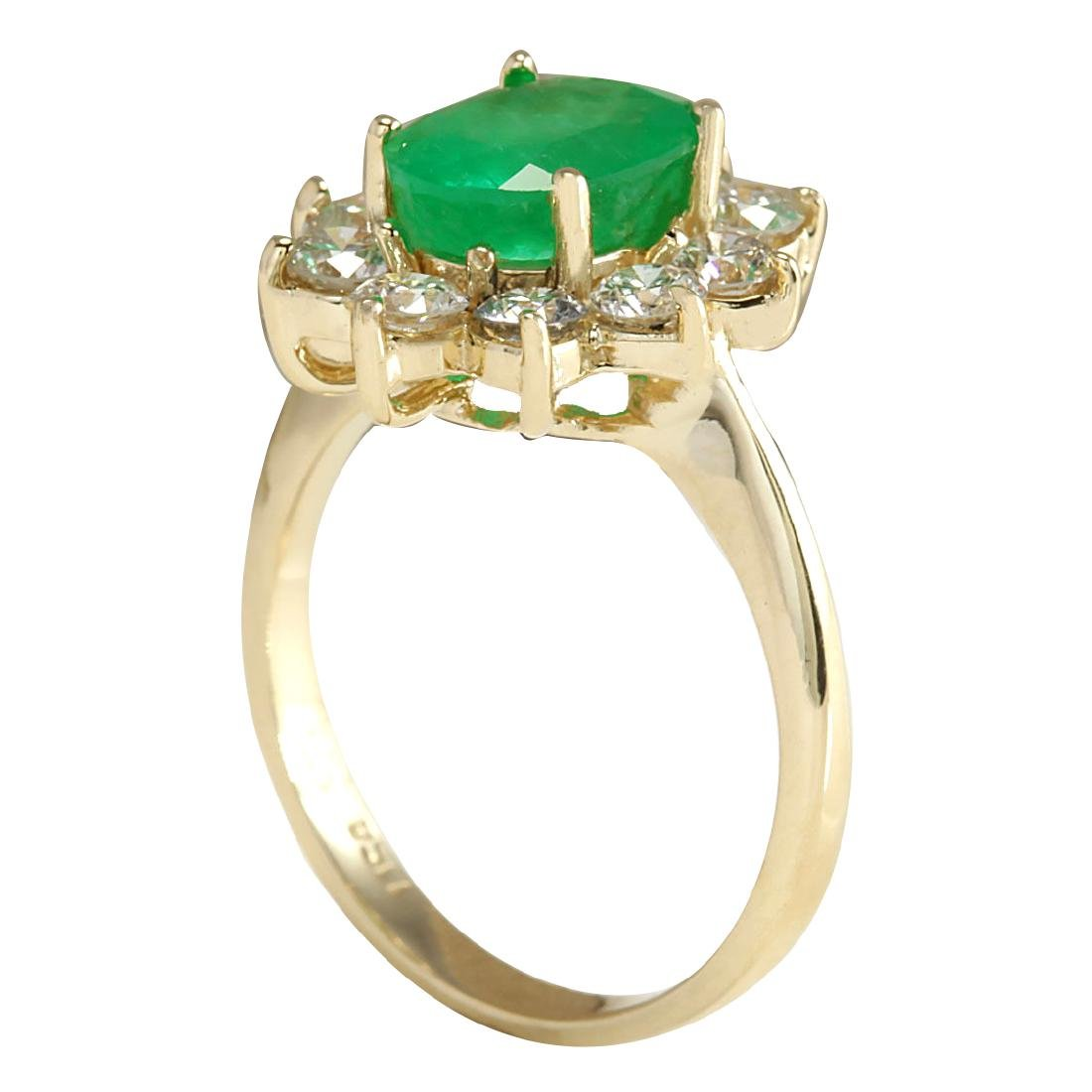 3.08CTW Natural Emerald And Diamond Ring 18K Solid - 3