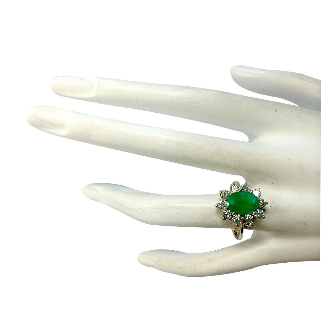 3.08CTW Natural Emerald And Diamond Ring 18K Solid - 4