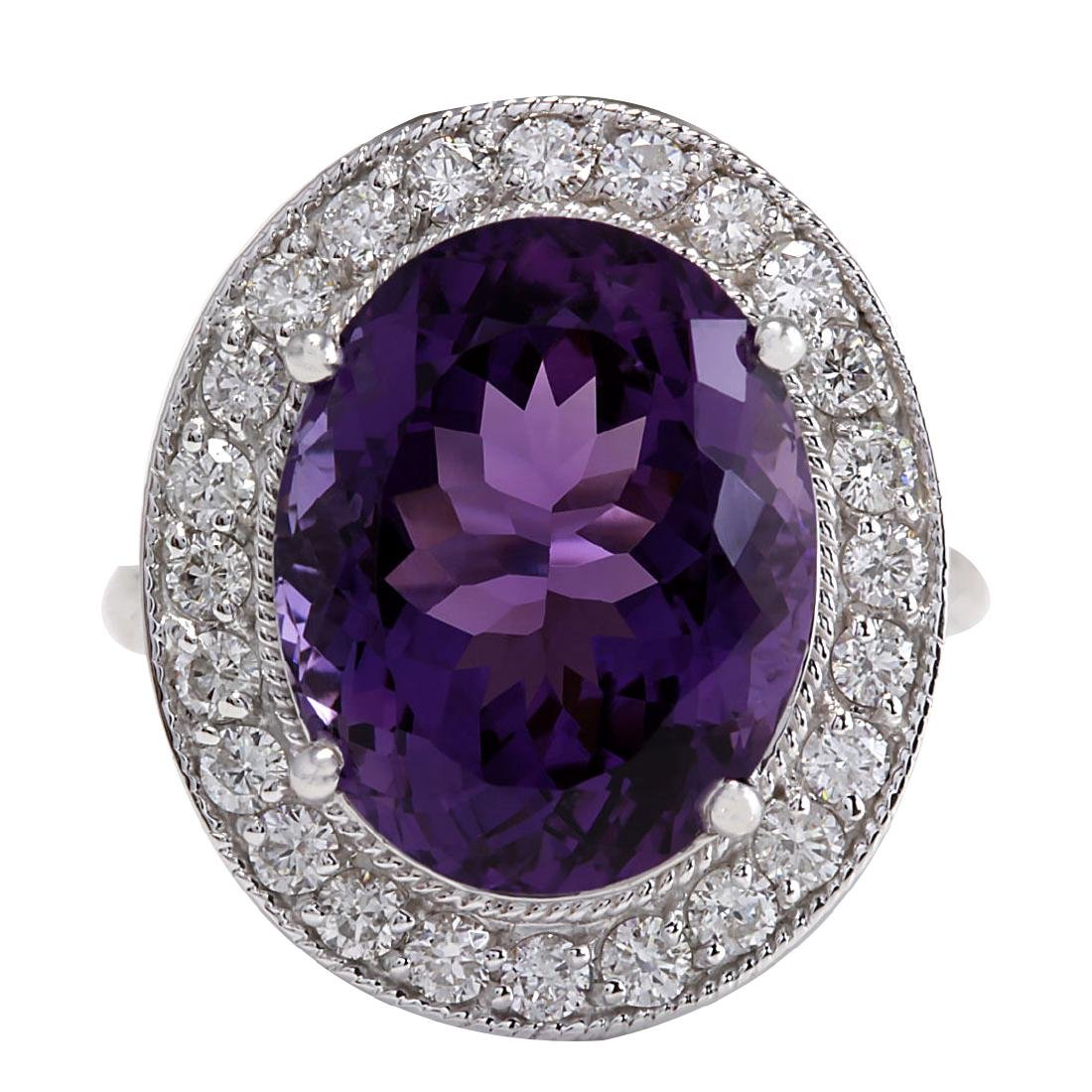 10.60CTW Natural Amethyst And Diamond Ring In 18K Solid