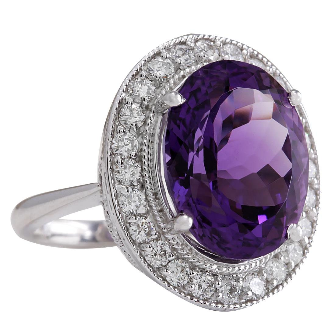 10.60CTW Natural Amethyst And Diamond Ring In 18K Solid - 2