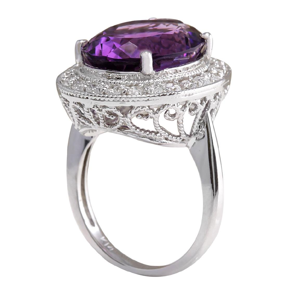 10.60CTW Natural Amethyst And Diamond Ring In 18K Solid - 3