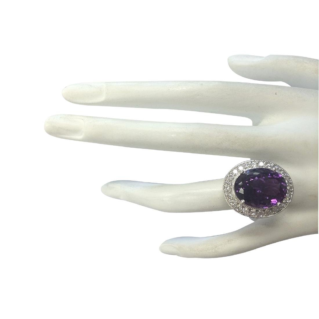 10.60CTW Natural Amethyst And Diamond Ring In 18K Solid - 4