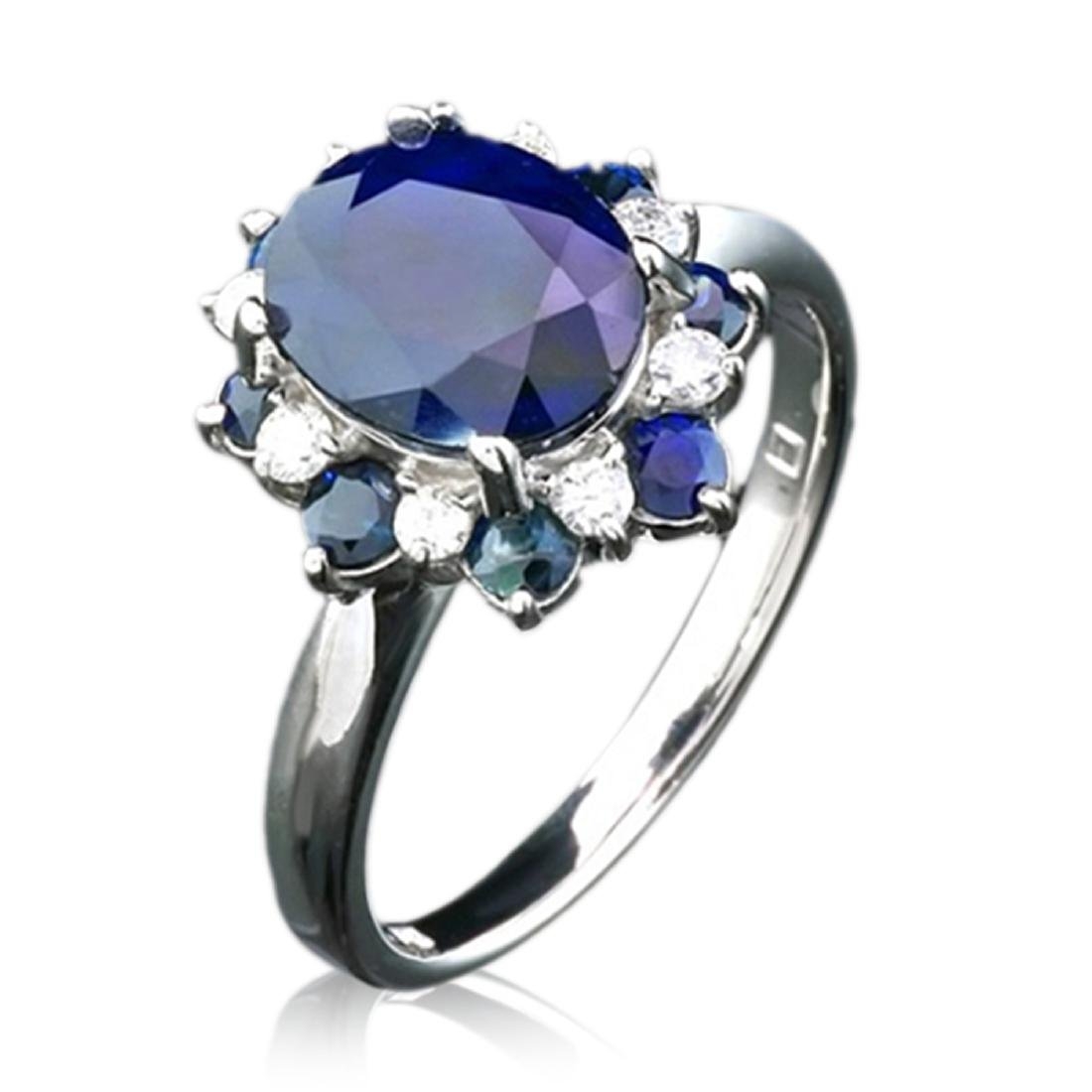 5.97 Carat Natural Sapphire 18K Solid White Gold