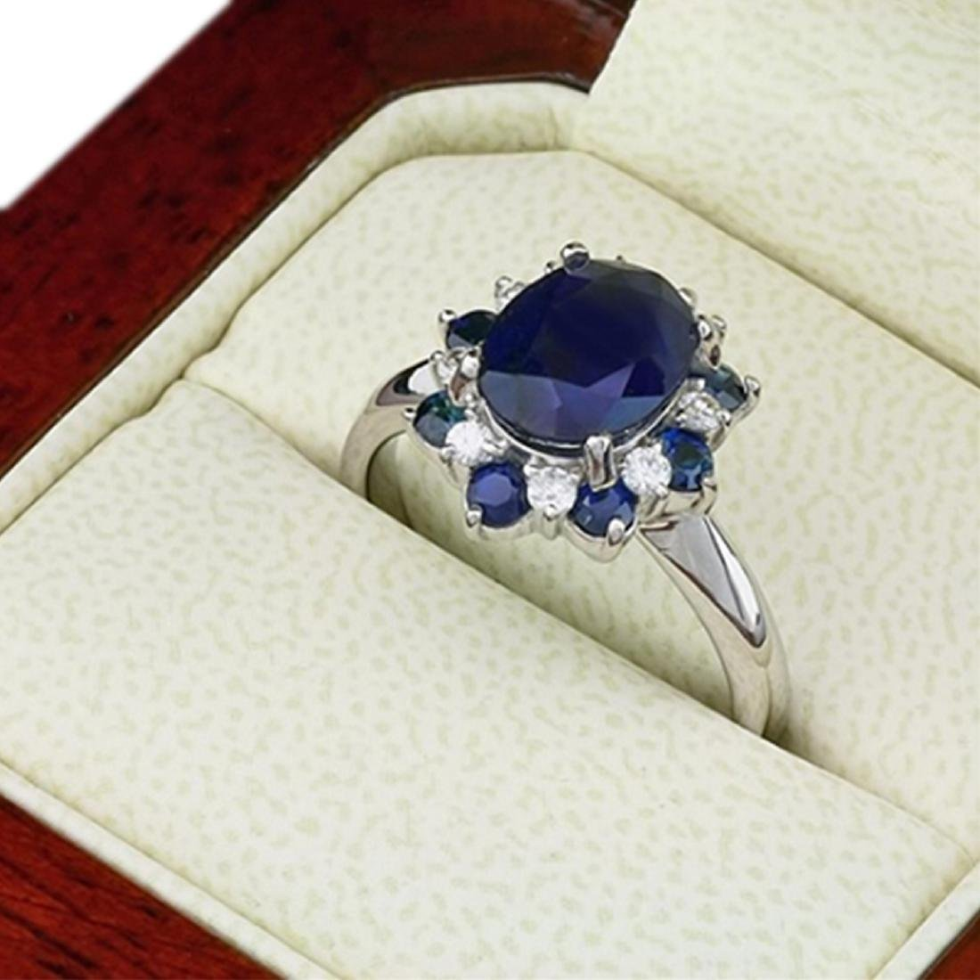 5.97 Carat Natural Sapphire 18K Solid White Gold - 2