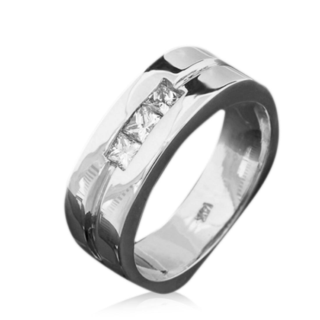 Mens 0.40 Carat Natural Diamond 18K Solid White Gold