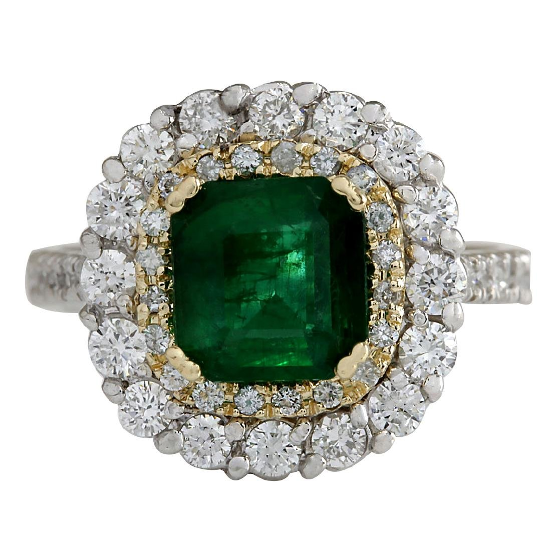 2.88CTW Natural Emerald And Diamond Ring 18K Solid