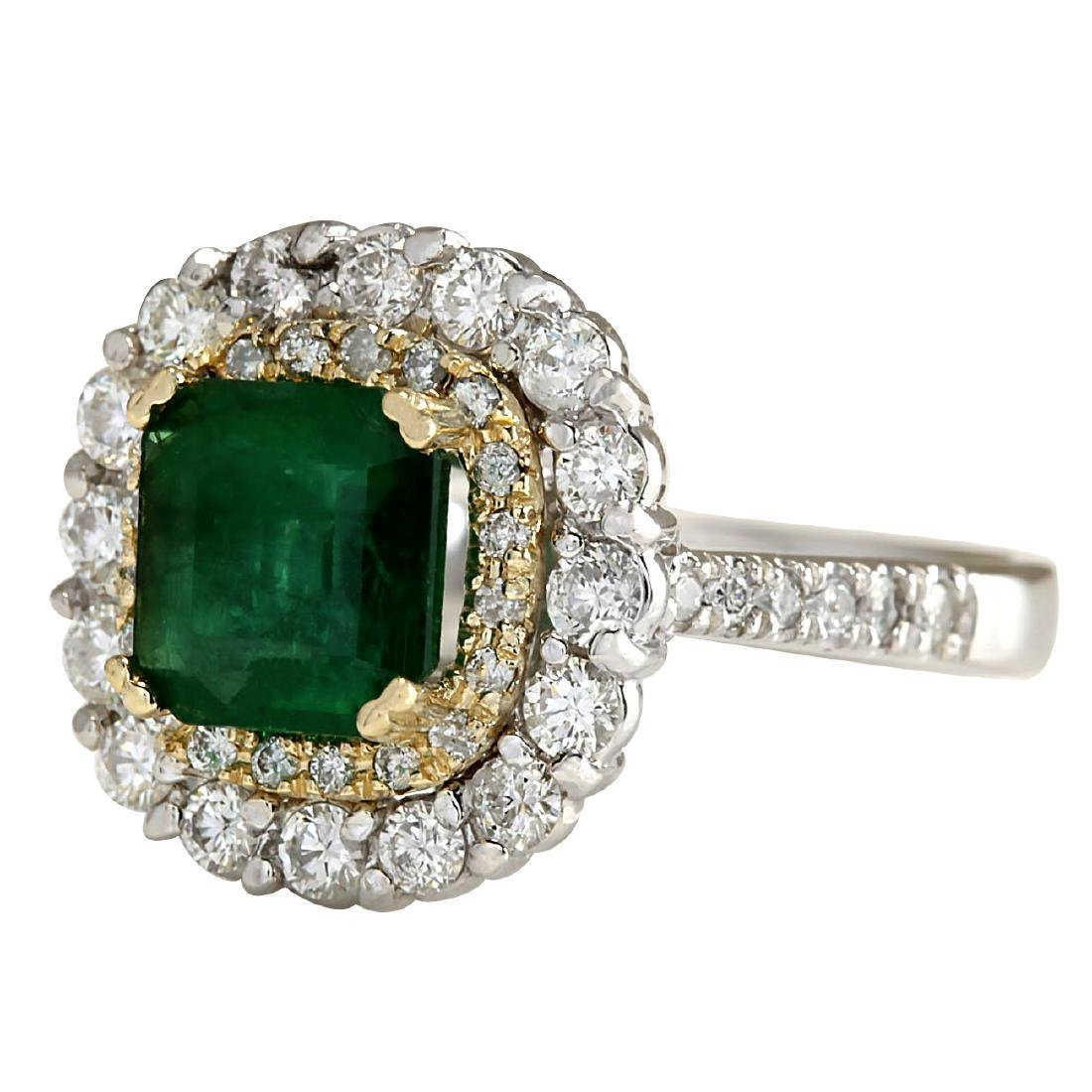 2.88CTW Natural Emerald And Diamond Ring 18K Solid - 2