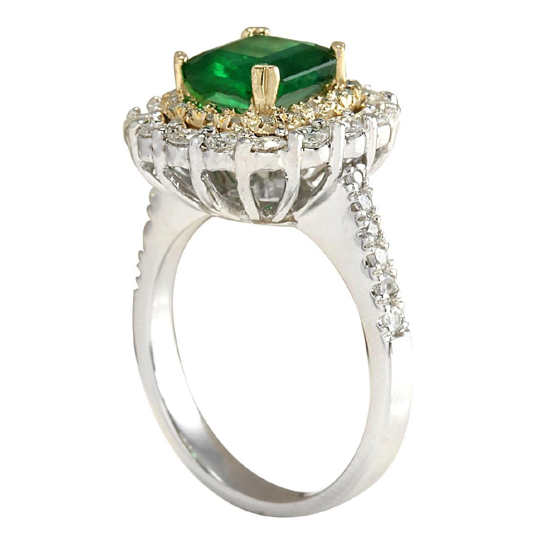 2.88CTW Natural Emerald And Diamond Ring 18K Solid - 3