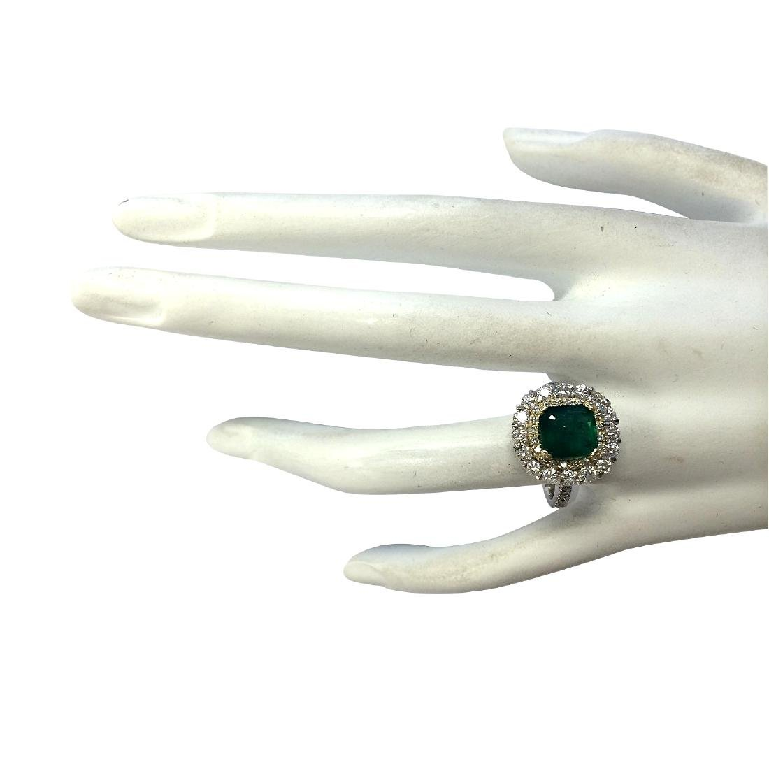 2.88CTW Natural Emerald And Diamond Ring 18K Solid - 4
