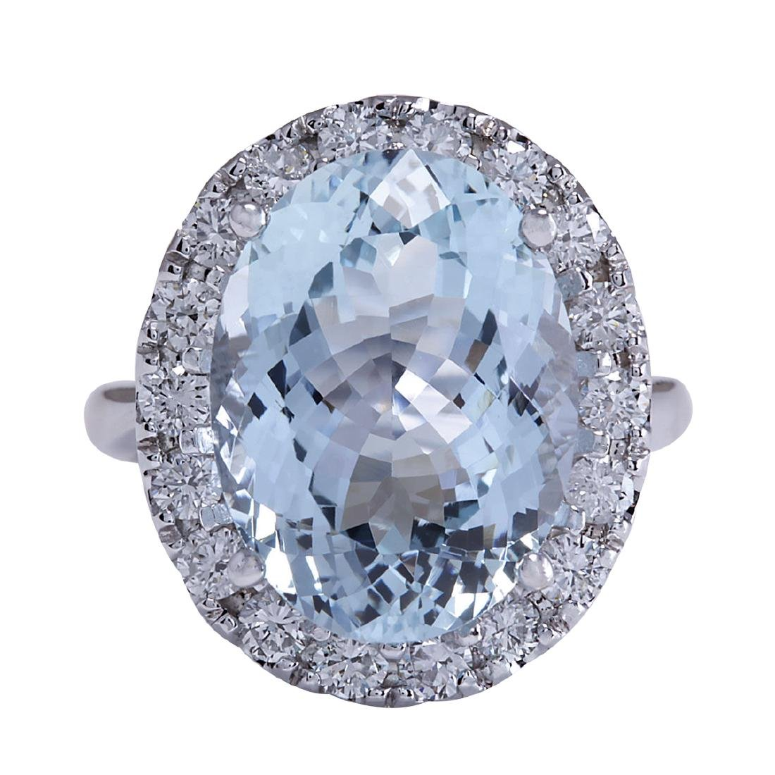 9.84CTW Natural Aquamarine And Diamond Ring In 18K