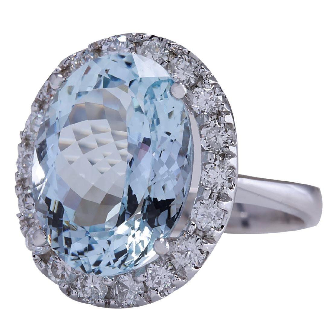 9.84CTW Natural Aquamarine And Diamond Ring In 18K - 2