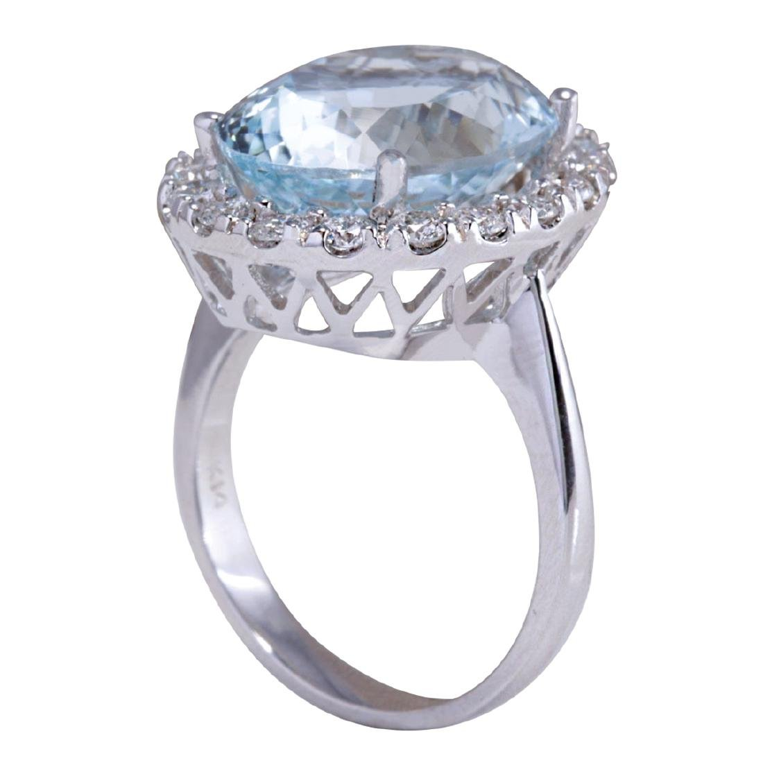 9.84CTW Natural Aquamarine And Diamond Ring In 18K - 3