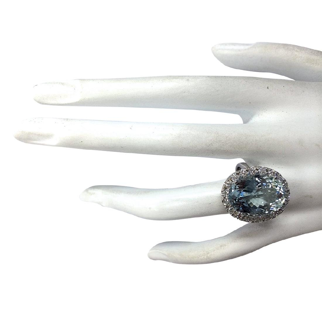 9.84CTW Natural Aquamarine And Diamond Ring In 18K - 4