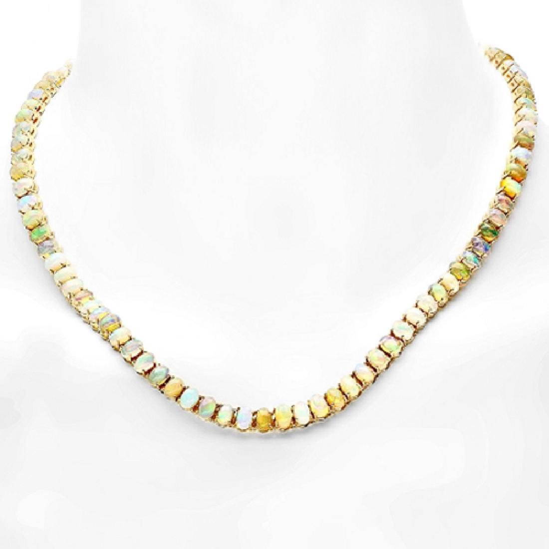 30.00 Carat Natural Opal 18K Solid Yellow Gold Necklace