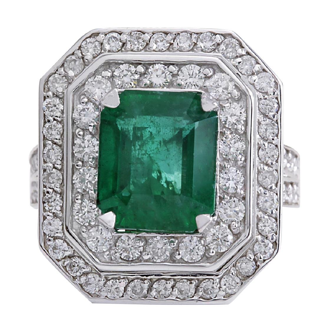 4.59CTW Natural Emerald And Diamond Ring 18K Solid