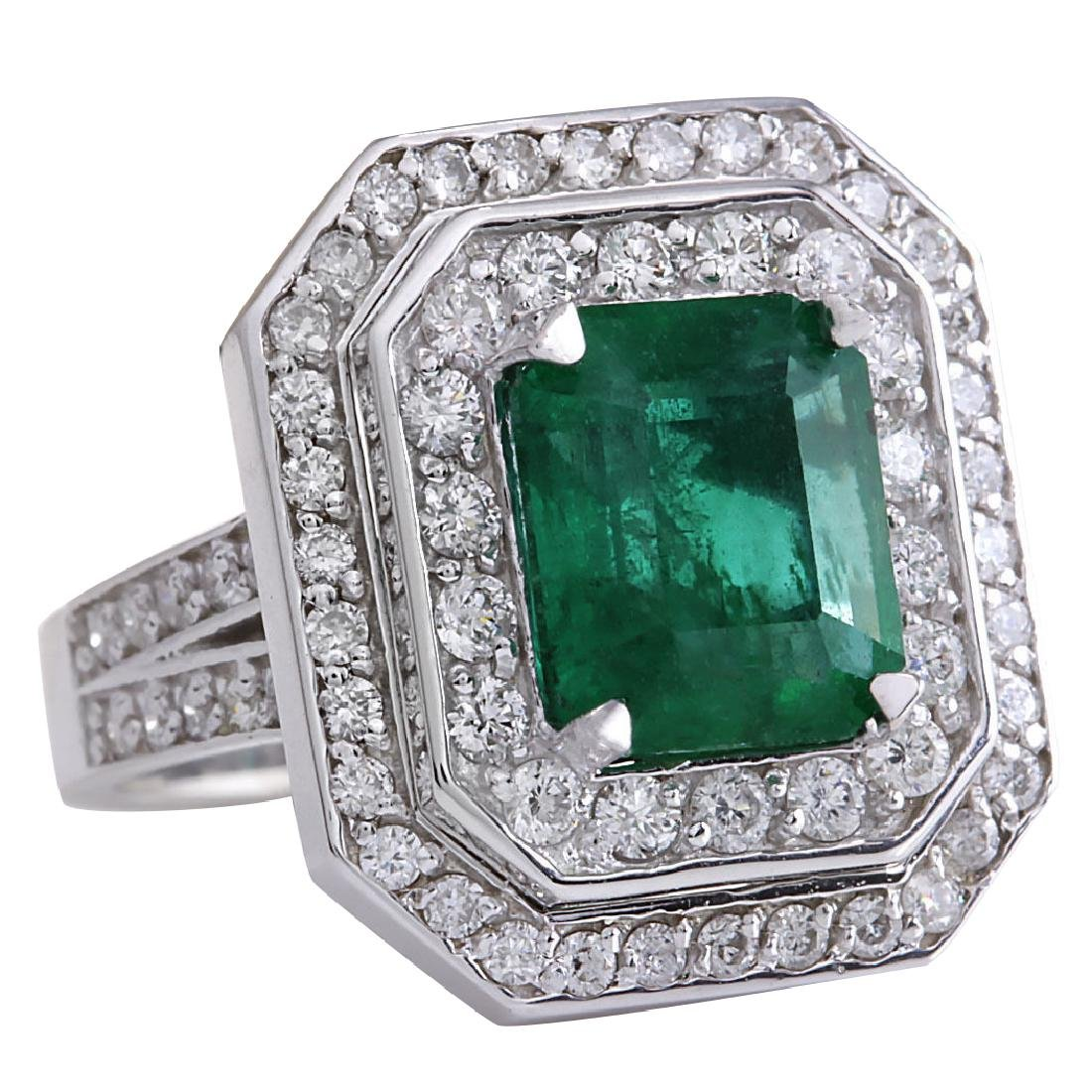 4.59CTW Natural Emerald And Diamond Ring 18K Solid - 2