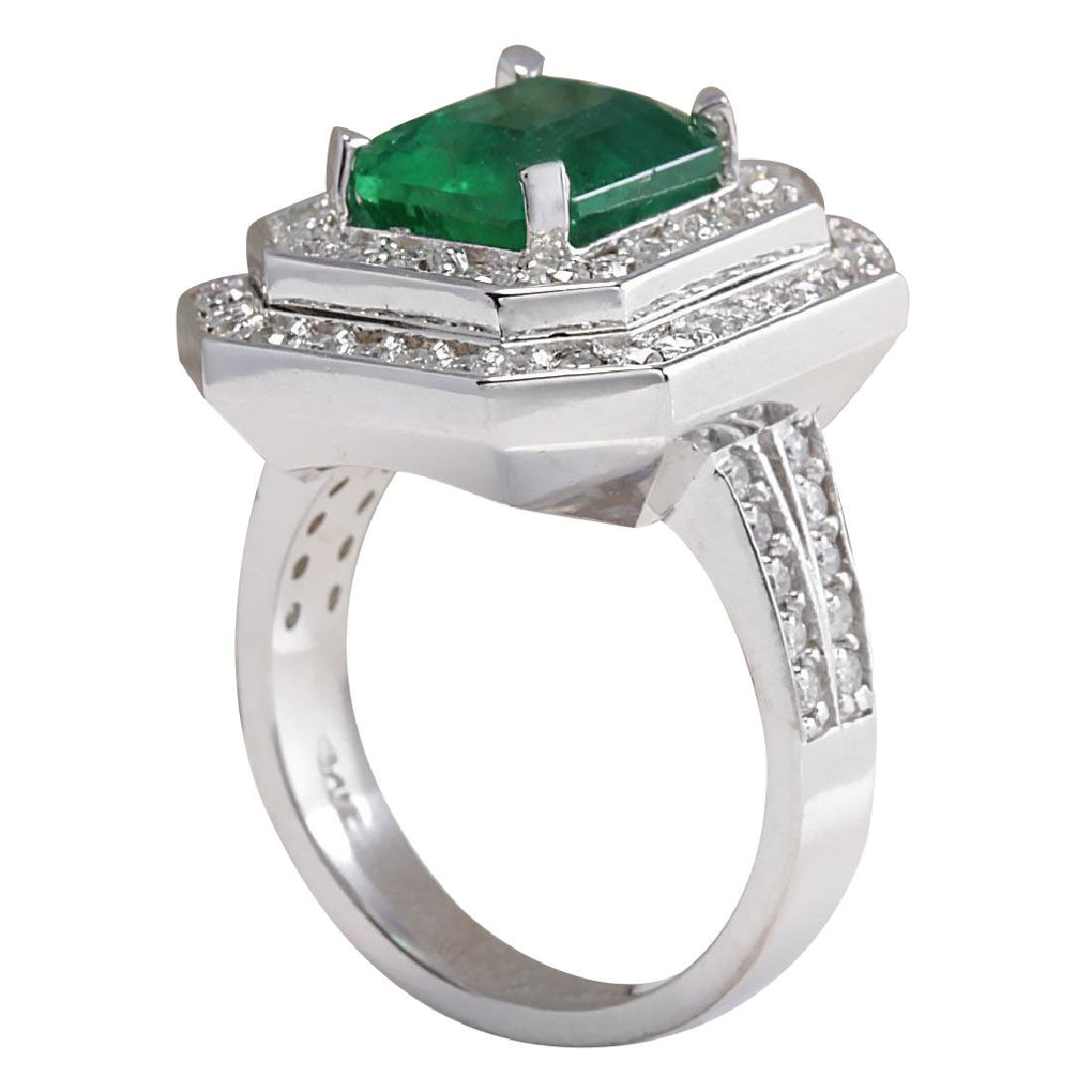 4.59CTW Natural Emerald And Diamond Ring 18K Solid - 3