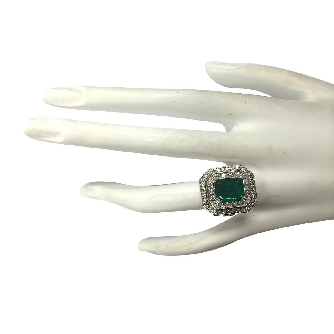 4.59CTW Natural Emerald And Diamond Ring 18K Solid - 4