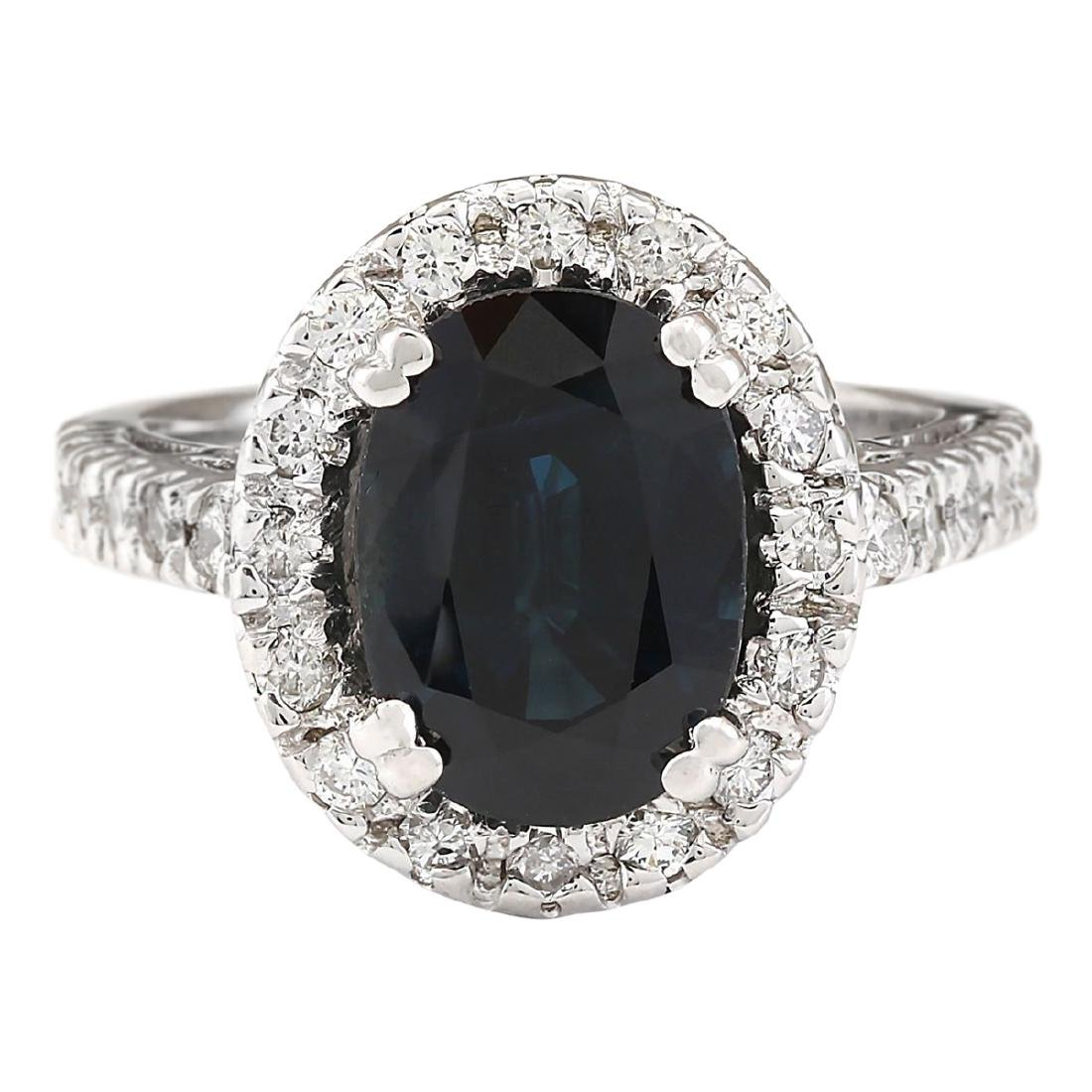 5.28 CTW Natural Blue Sapphire And Diamond Ring In 18K