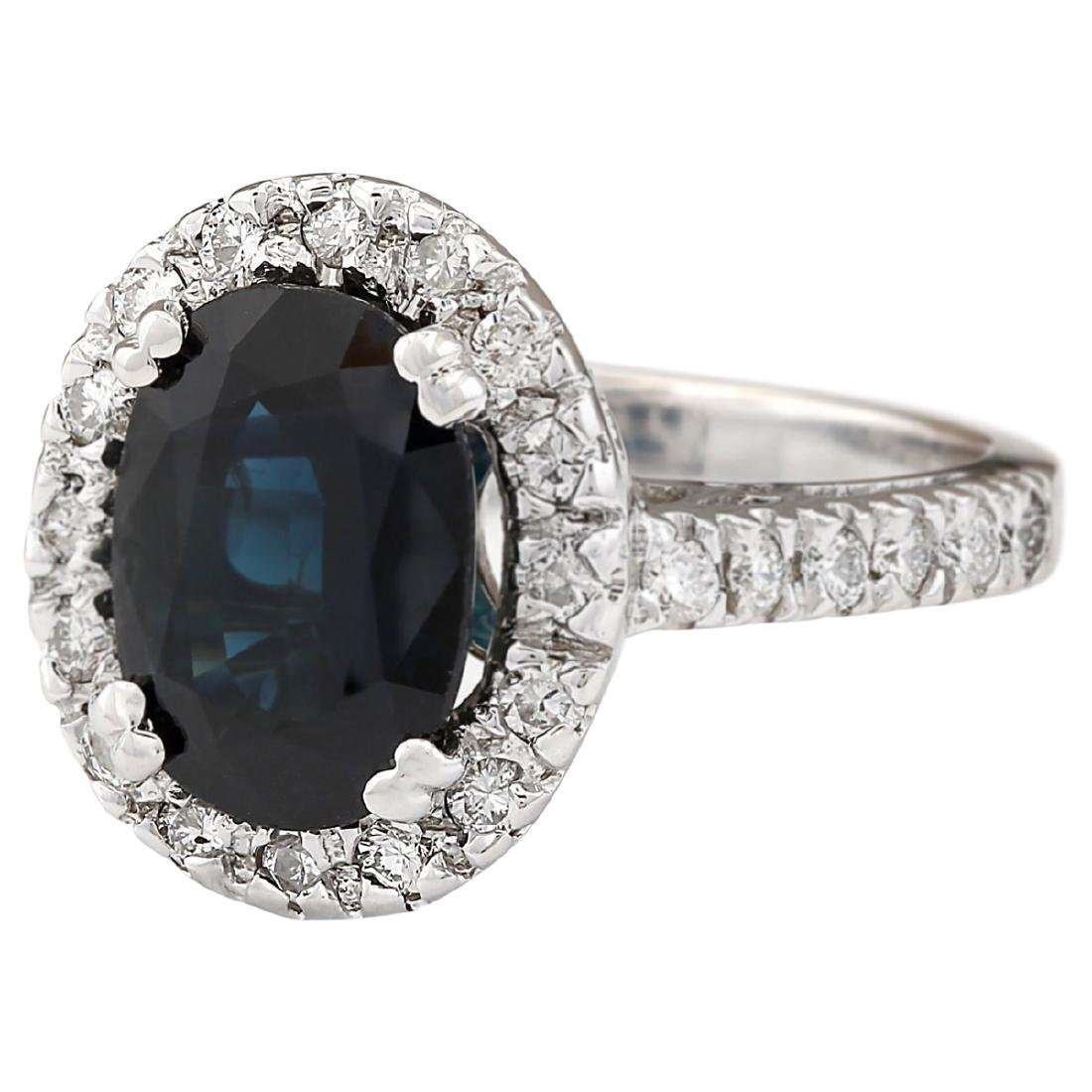 5.28 CTW Natural Blue Sapphire And Diamond Ring In 18K - 2
