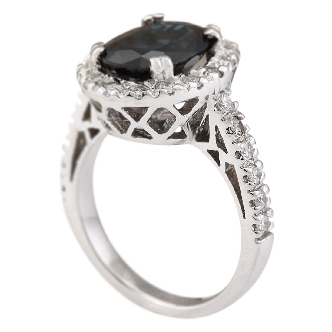 5.28 CTW Natural Blue Sapphire And Diamond Ring In 18K - 3