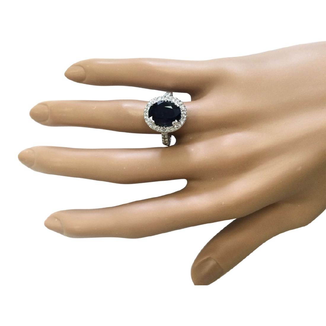 5.28 CTW Natural Blue Sapphire And Diamond Ring In 18K - 4