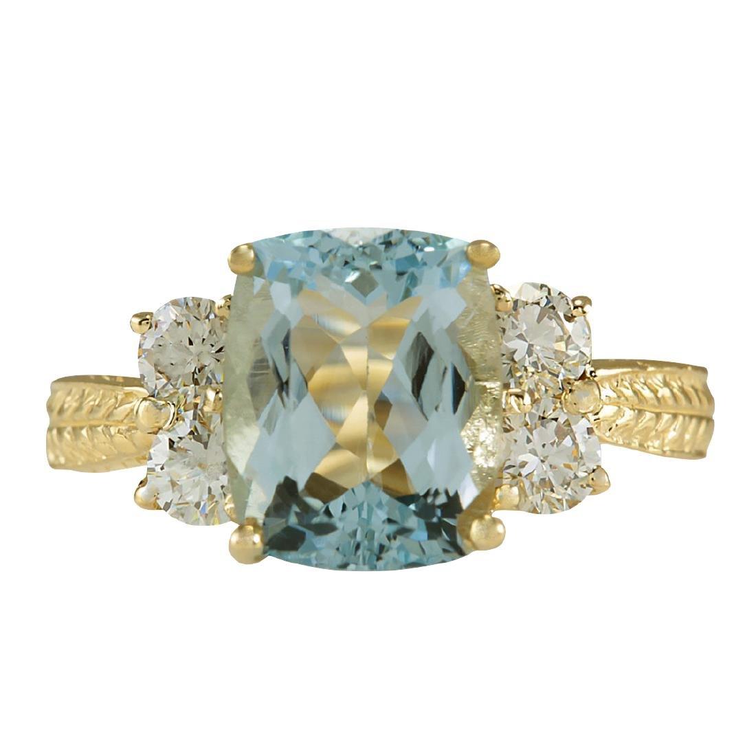 3.67CTW Natural Aquamarine And Diamond Ring In 18K