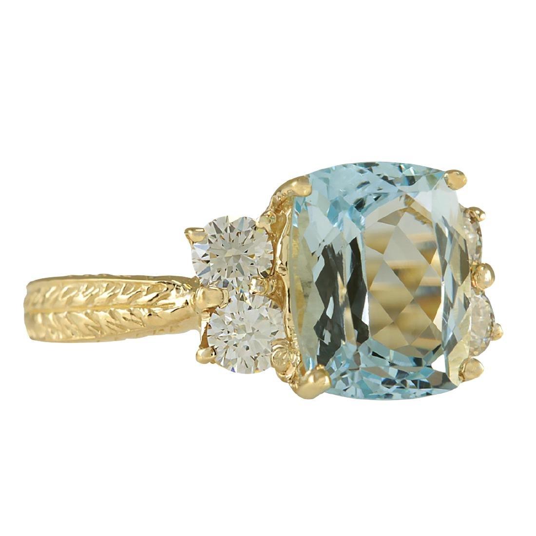 3.67CTW Natural Aquamarine And Diamond Ring In 18K - 2