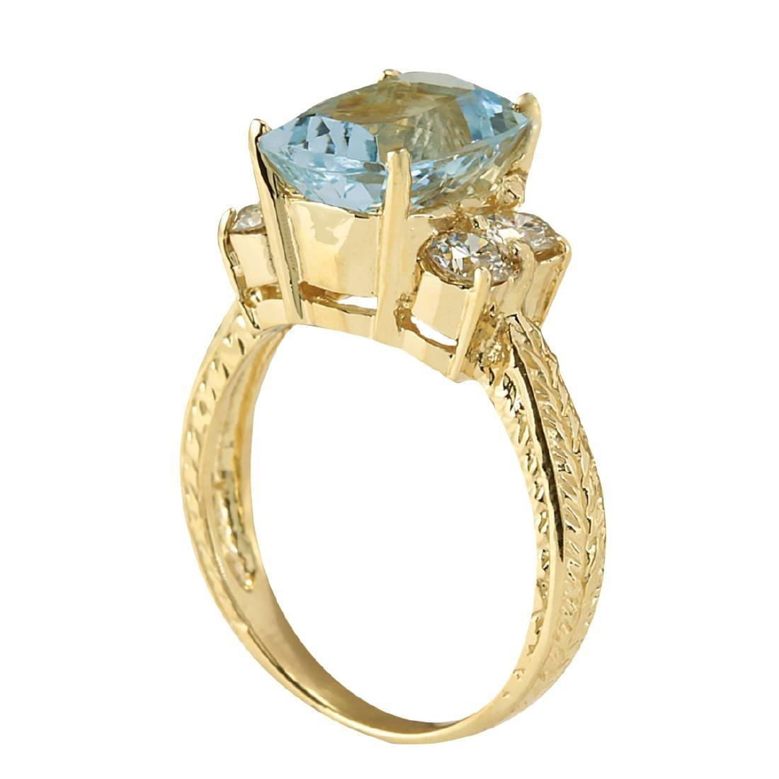 3.67CTW Natural Aquamarine And Diamond Ring In 18K - 3