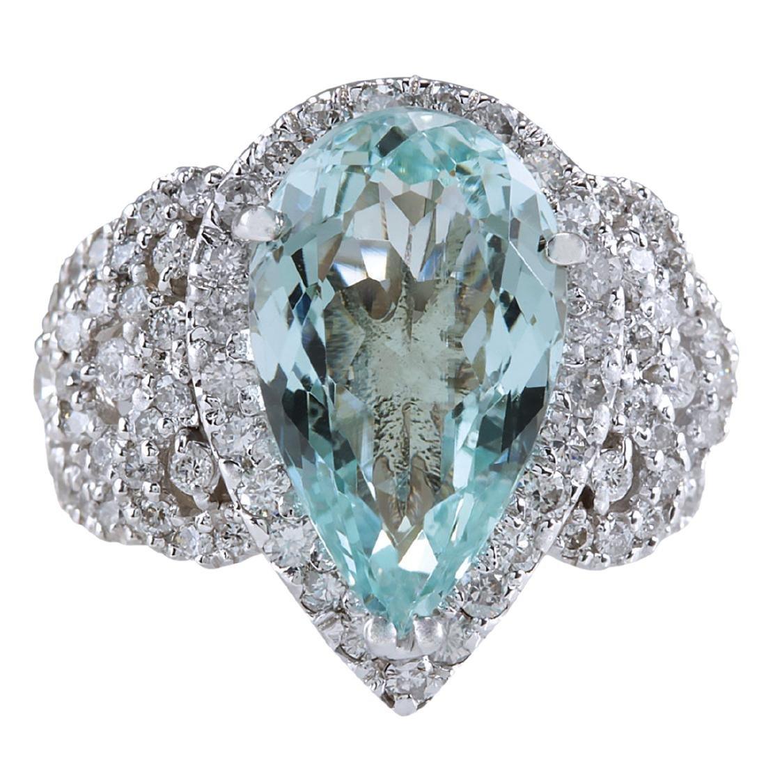 7.30CTW Natural Aquamarine And Diamond Ring In 18K