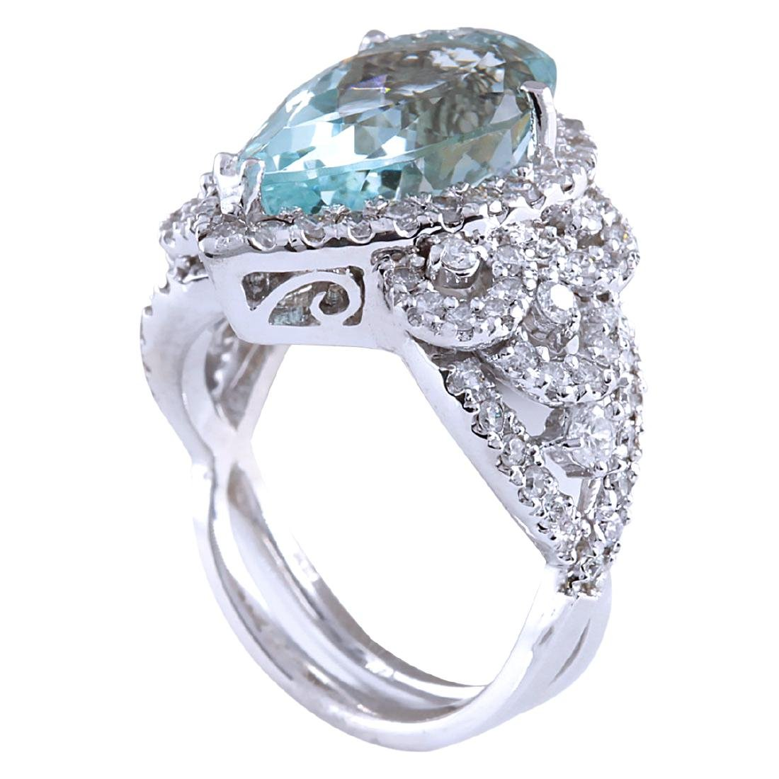 7.30CTW Natural Aquamarine And Diamond Ring In 18K - 3