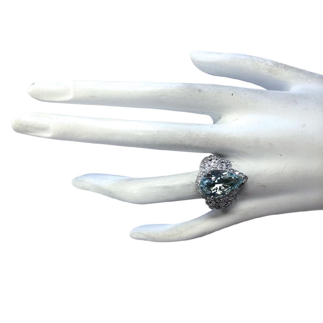 7.30CTW Natural Aquamarine And Diamond Ring In 18K - 4