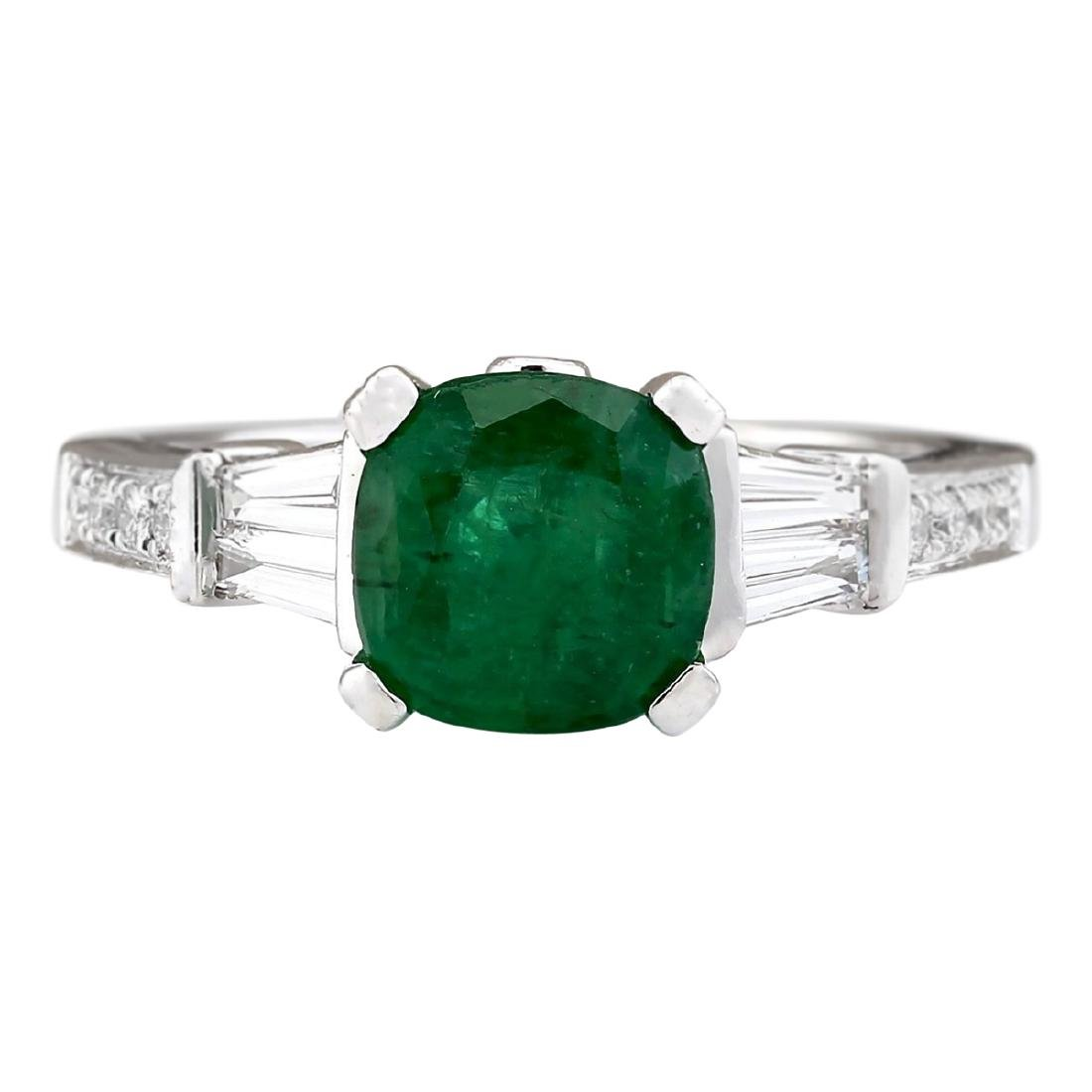 2.38 CTW Natural Emerald And Diamond Ring In 18K White
