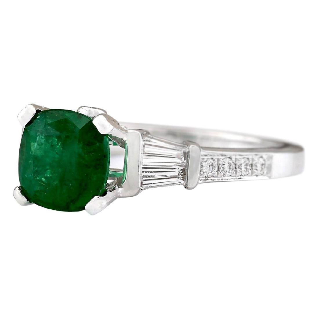 2.38 CTW Natural Emerald And Diamond Ring In 18K White - 2